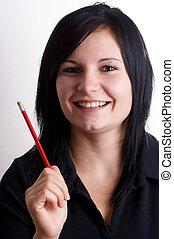 鉛筆, 女, 彼女, 若い, 手, 赤