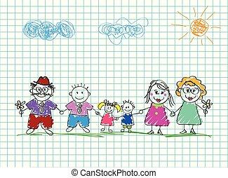 鉛筆, 子供, 有色人種, family., イラスト, 手, ベクトル, 図画, 引かれる, 幸せ