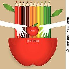 鉛筆, 学校, アップルの色, 歓迎, 背中, 背景, ベクトル, illustration.