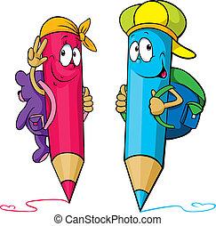 鉛筆, 学校, 有色人種, 袋, 後部, ∥(彼・それ)ら∥, 漫画