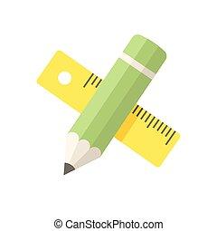 鉛筆, 定規, アイコン