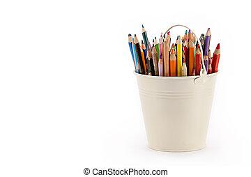 鉛筆, 容器, カラフルである