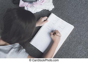 鉛筆, 引く, 黒っぽい髪, 床, うそ, ノート, 計画, 白, 女の子