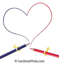 鉛筆, 形, 図画, 心