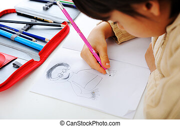 鉛筆, 彼の, ノート, 学童, 図画, 人