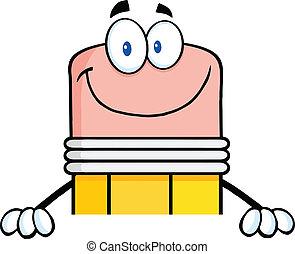 鉛筆, 微笑, ブランク, 上に, 印