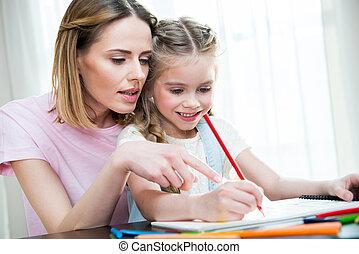 鉛筆, 微笑, 母, 家, 女の子, 図画