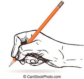 鉛筆, 手を持つ