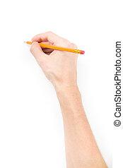 鉛筆, 手, 何か, 執筆