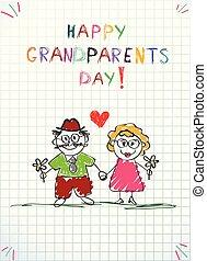 鉛筆, 挨拶, 一緒に, 手, おじいさん, 祖母, 引かれる, 子供, カード