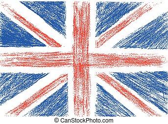 鉛筆, 插圖, 旗, 矢量, 英國, 圖畫