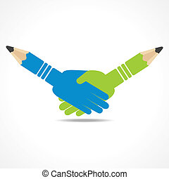 鉛筆, 握手, 背景