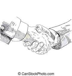 鉛筆, 握手, illustration., ビジネス, スケッチ, 人々, partnership., ベクトル