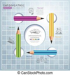 鉛筆, 教育, ビジネス, infographics