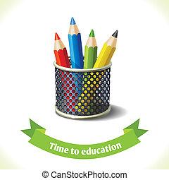 鉛筆, 教育, 有色人種, アイコン
