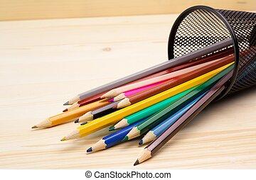 鉛筆, 木, 容器, カラフルである, テーブル