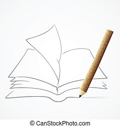 鉛筆, 本, 図画