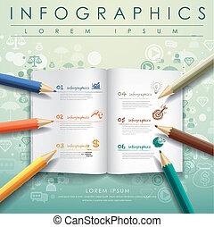 鉛筆, 本, 有色人種, テンプレート, 創造的