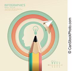 鉛筆, 概念, イラスト, 創造的, ベクトル, /, テンプレート, infographics