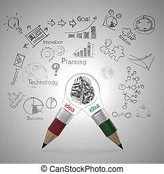 鉛筆, 概念, ビジネス, ライト, 中, 金属, 作戦, 脳, 人間, 電球, 3d
