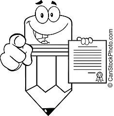 鉛筆, 概説された, 保有物の 契約