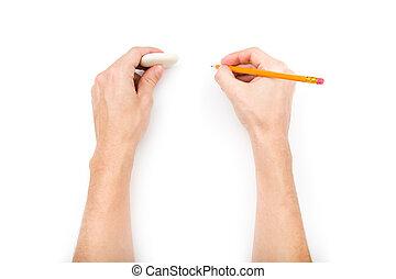 鉛筆, 消しゴム, 人間の術中