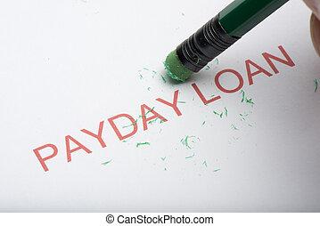 鉛筆, 消去, ∥, 単語, 'payday, loan', 上に, ペーパー