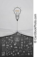 鉛筆, 燈泡, 平局, 繩子, 打開, 起皺紋, 紙, 娛樂性行業, 戰略, 如, 概念