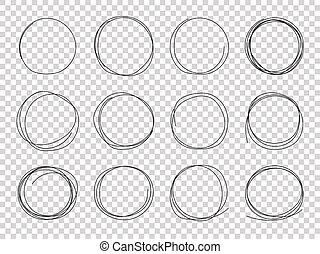 鉛筆, 略述, 矢量, frames., 心不在焉地亂寫亂畫, 被隔离, 手, 打擊, circles., 黑色, 盤旋, 畫, 雜文, 圓