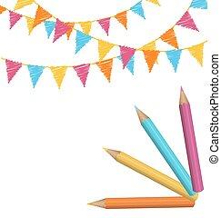 鉛筆, 白色, 被隔离, buntings, 多种顏色