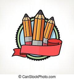 鉛筆, 白, 紋章