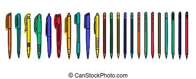 鉛筆, 着色されたペン, アウトライン, バックグラウンド。, ベクトル, 白, collections., 動かない,...