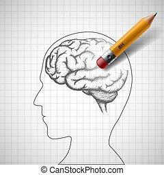 鉛筆, 矢量, alzheimer, 人類, erases, disease., brain., 股票