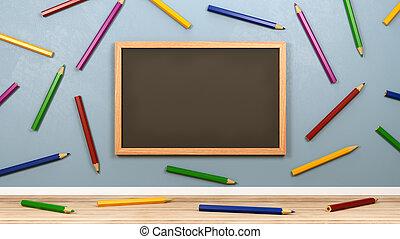 鉛筆, 空 部屋, カラフルである, 黒板