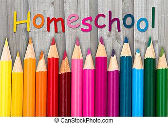 鉛筆, 粉筆, 由于, 正文, homeschool