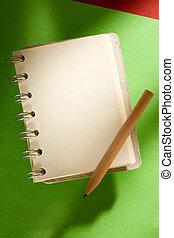 鉛筆, 緑, メモ用紙, 隔離された, 背景