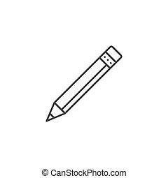 鉛筆, 線, ベクトル, 関係した, アイコン