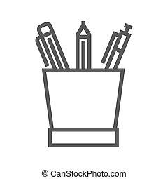 鉛筆, 線, 立ちなさい, アイコン