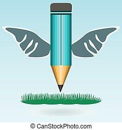 鉛筆, 翼, 教育, school., ビジネス, concept., 背中, ロゴ, 草