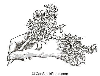 鉛筆, 花が咲く, 図画, 手