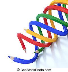 鉛筆, 虹, 抽象的, イラスト, 背景, 線, 色