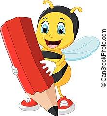 鉛筆, 蜂, 漫画, 赤, 保有物