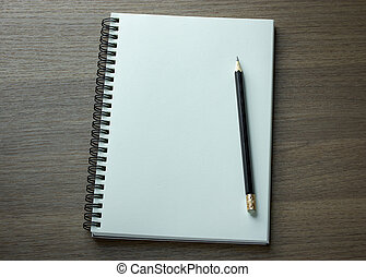 鉛筆, 螺旋, 筆記本, 黑暗, 木頭, 背景, 空白