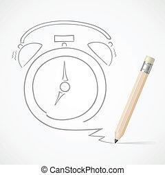 鉛筆, 警報, 図画, 時計