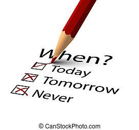 鉛筆, 選択, いつか, 始めなさい, ベクトル, 赤