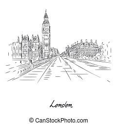 鉛筆, 都市, ロンドン, スケッチ, 美しい, ペーパー