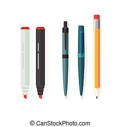 鉛筆, 鉛筆, ペン, マーカー, ゴム, ペン, ベクトル, 点, biro, 消しゴム, 赤