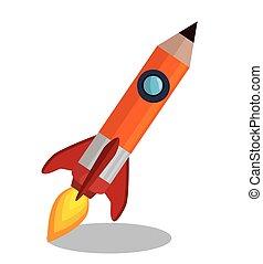 鉛筆, 隔離された, ロケット, アイコン