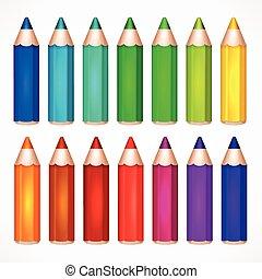 鉛筆, 集合, 顏色, 矢量, 插圖