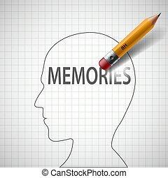 鉛筆, 頭, 単語, alzheimer, 人間, erases, memories., dis